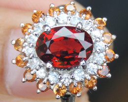 Raspberry Garnet Ring with Sapphires and Spessartite
