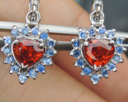 """Valentines Heart"" Spessartite Earings w/ Sapphire in Silver Earrings"
