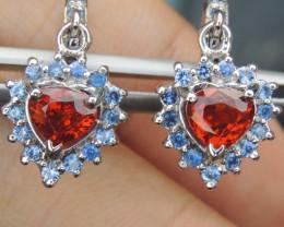 """""""Valentines Heart"""" Spessartite Earings w/ Sapphire in Silver Earrings"""