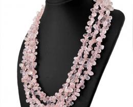 Pink Rose Quartz 3 Lines Tear Drop Beads Necklace