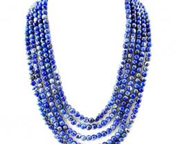 Blue Lapis Lazuli 5 Strands Round Beads Necklace