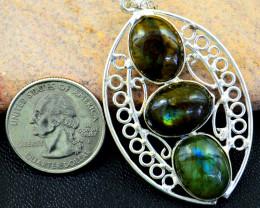 Genuine 54.00 Cts Labradorite Tibet Silver pendant