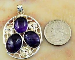 Genuine 54.00 Cts Tibet Silver Amethyst Pendant