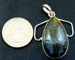 Genuine 53.00 Cts Labradorite Tibet Silver Pendant