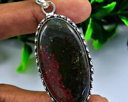 Genuine 80.00 Cts Bloodstone Tibet Silver Pendant
