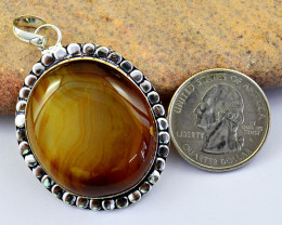 Genuine 92.00 Cts Agate Tibet Silver Pendant