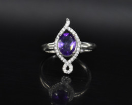 EXCLUSIVE RING Made with Genuine AMETHYST  and Sterling Silver BR5