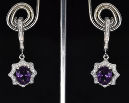 EXCLUSIVE EARRINGS Made with Genuine AMETHYST  and Sterling Silver BE16