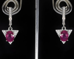 EXCLUSIVE EARRINGS Made with Genuine RUBY and Sterling Silver BE14