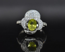 EXCLUSIVE RING Made with Genuine PERIDOT and Sterling Silver BR6