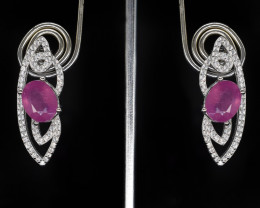 EXCLUSIVE EARRINGS Made with Genuine RUBY and Sterling Silver BE2