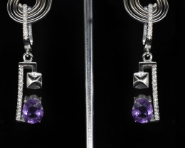 EXCLUSIVE EARRINGS Made with Genuine AMETHYST  and Sterling Silver BE8