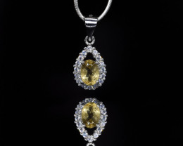 EXCLUSIVE PENDANT Made with Genuine CITRINE  and Sterling Silver BP4