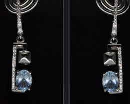 EXCLUSIVE EARRINGS Made with Genuine BLUE TOPAZ and Sterling Silver BE9