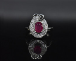 EXCLUSIVE RING Made with Genuine RUBY and Sterling Silver BR1