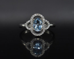 EXCLUSIVE RING Made with Genuine BLUE TOPAZ  and Sterling Silver BR3