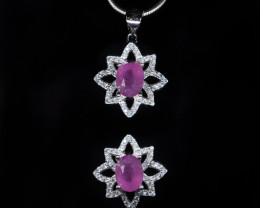 EXCLUSIVE PENDANT Made with Genuine RUBY and Sterling Silver BP1