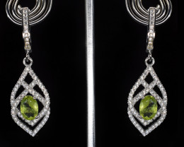EXCLUSIVE EARRINGS Made with Genuine PERIDOT and Sterling Silver BE19