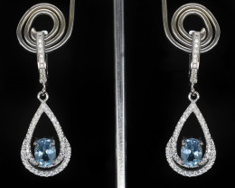 EXCLUSIVE EARRINGS Made with Genuine BLUE TOPAZ  and Sterling Silver BE17