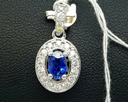 Natural Sapphire And Diamond Pendant 18K White Gold 13.45 Total Cts