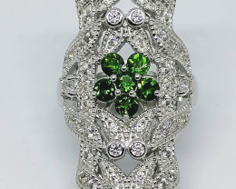Chrome Diopside and Zircon Ring 1.52 TCW