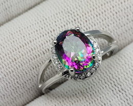 Mystic Topaz 18.55 Carats 925 Silver Ring