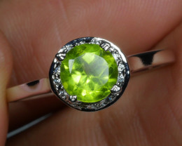 BEAUTY NATURAL PERIDOT 925 silver ring-
