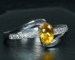 GOLDEN YELLOW CITRINE 925 silver ring-