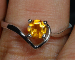 ... GOLDEN YELLOW CITRINE Sterling silver Ring 925 Size 7,75