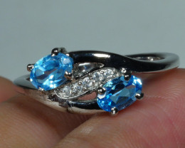 BEAUTY BLUE TOPAZ  Sterling silver  Ring 925 Size ... 8