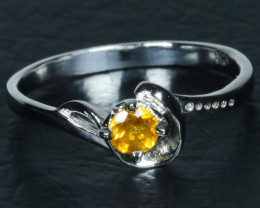 GOLDEN YELLOW CITRINE 925 Sterling silver  Ring 925 Size ...7 (US )