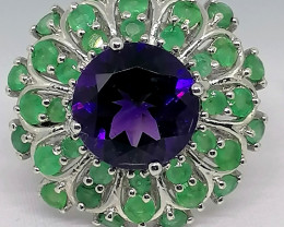 Amethyst and Emerald Ring 6.00 TCW
