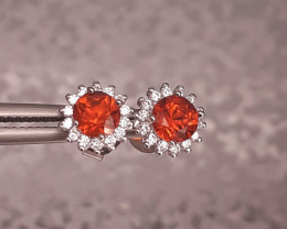 Natural Nice Color Spessartine Garnet Earrings in 925 Silver 7.75 Ct. by DA