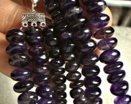 495.0 Tcw. Three Strand Amethyst Necklace - Gorgeous
