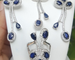 Beuatiful Sapphire Set With CZ in Silver 925.