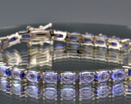 Natural Tanzanites and 925 Silver Bracelet