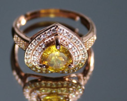 Sphene 1.15ct Rose Gold Finish Solid 925 Sterling Silver Ring