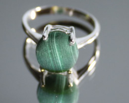 Malachite 6.20ct Platinum Finish Solid 925 Sterling Silver Solitaire Ring,