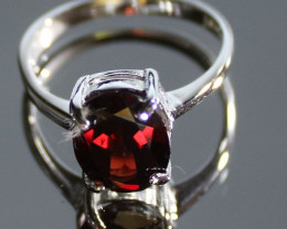 Pyrope Garnet 2.43ct Platinum Finish Solid 925 Sterling Silver Solitaire Ri