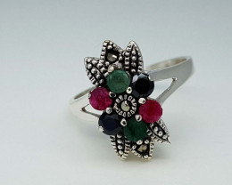 22CT EMERALD RUBY SAPPHIRE  RING 925 SILVER