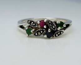 21CT EMERALD RUBY SAPPHIRE  RING 925 SILVER