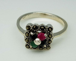 19CT EMERALD RUBY SAPPHIRE  RING 925 SILVER