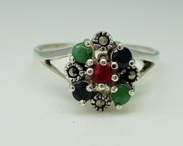 16.85CT EMERALD RUBY SAPPHIRE  RING 925 SILVER