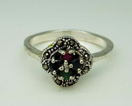 20.65CT EMERALD RUBY SAPPHIRE  RING 925 SILVER