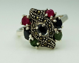 24CT EMERALD RUBY SAPPHIRE  RING 925 SILVER
