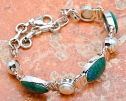 69.0 Carat Chrysocolla / Pearl / Sterling Silver Bracelet -  Fancy
