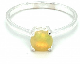 Opal 1.07ct Platinum Finish Solid 925 Sterling Silver Solitaire Ring