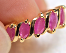 19.5 Carat Ruby / Gold Plated Over Sterling Silver Ring - Size 8 - Gorgeous