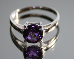 Amethyst 1.08ct Platinum Finish Solid 925 Sterling Silver Solitaire Ring