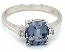 Blue Spinel 2.18ct Diamonds Solid 18K White Gold Ring